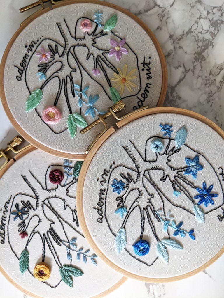 Adem in, adem uit borduurwerk door Iris Borduurt