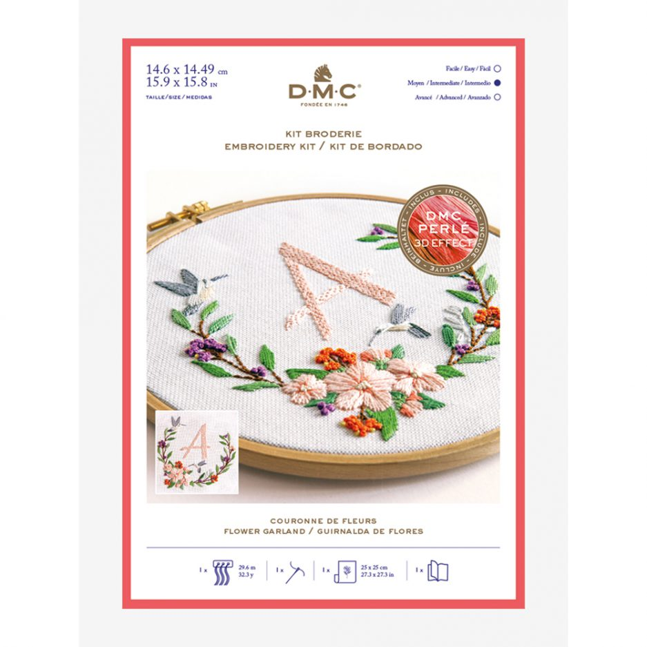 DMC borduurpakket bloemen en letter