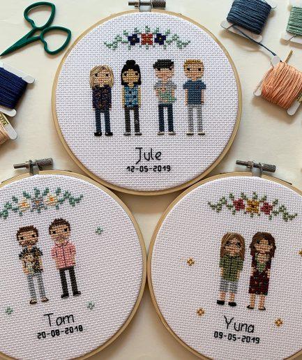 familieportret borduren