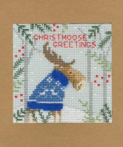 christmoose kaart borduren