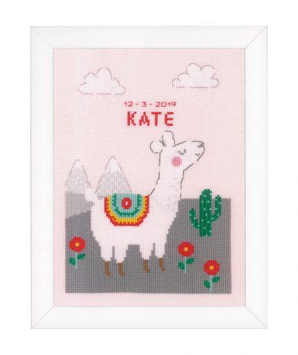 geboorte borduurpakket roze lama