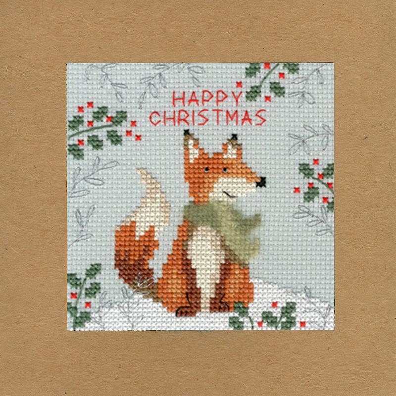 happy christmas kaart borduren