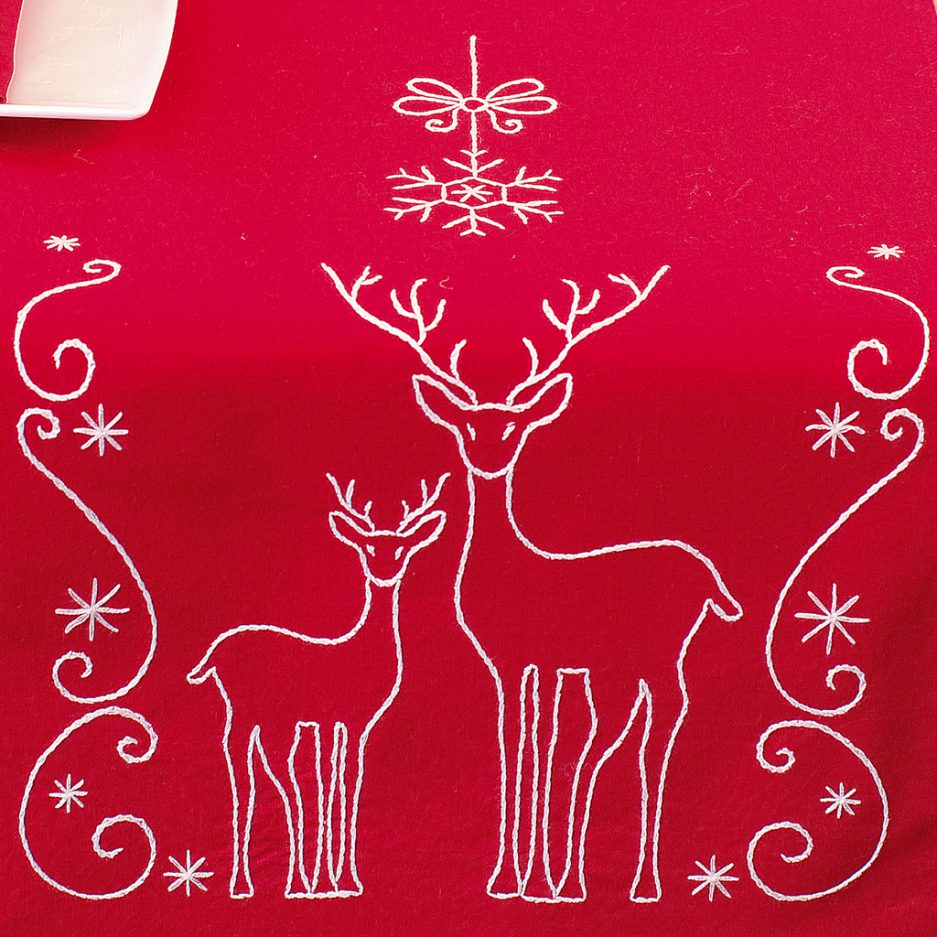 kerst tafelloper borduren