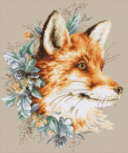 vos met bloemen borduurpakket