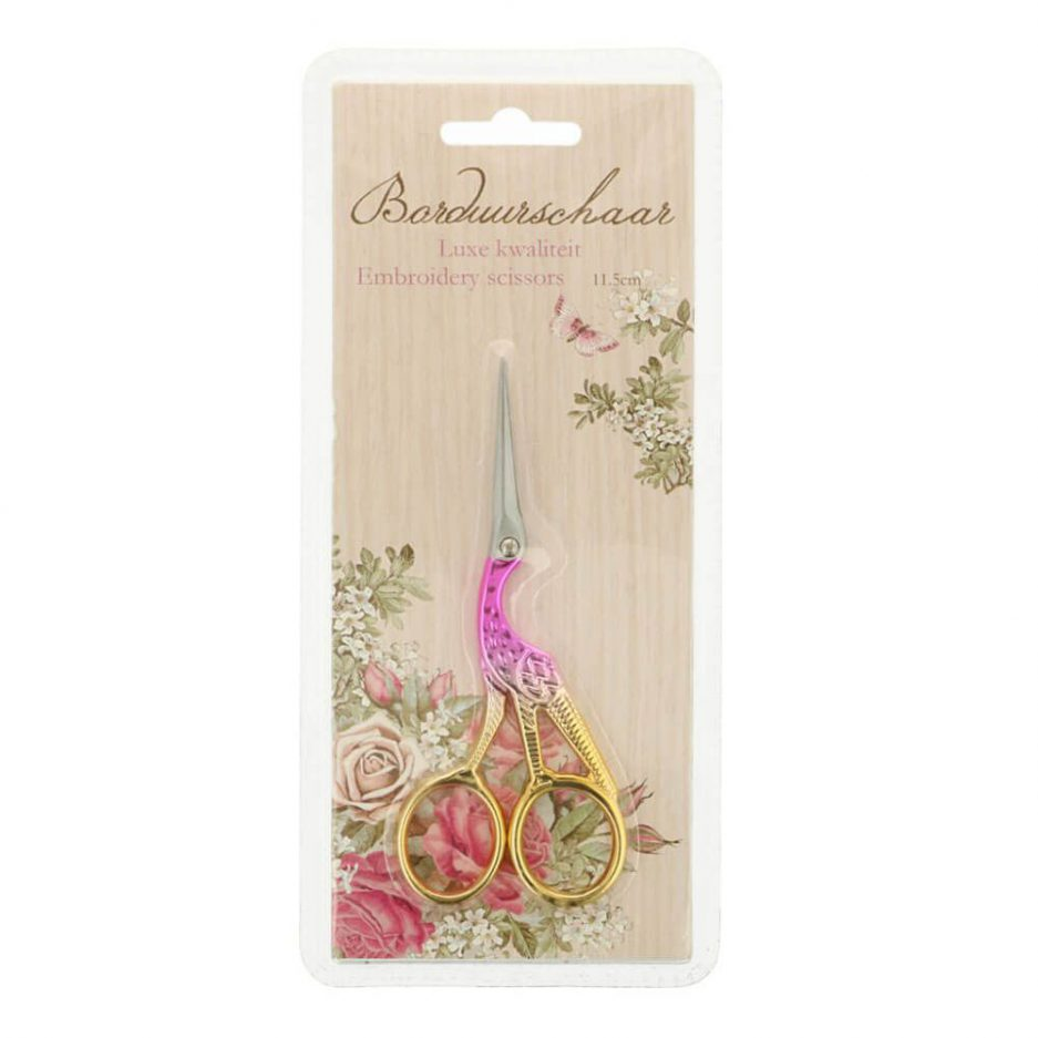 borduurschaar roze ooievaar