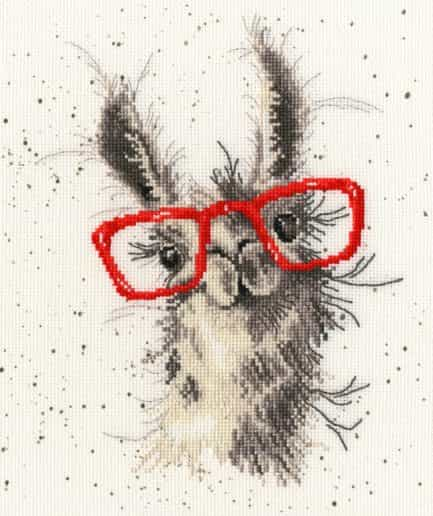 borduurpakket lama met bril