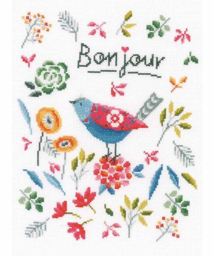 Vervaco borduurpakket vogel en bloemen