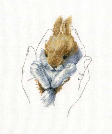 borduurpakket konijn in handen RTO