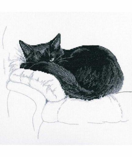 borduurpakket kruissteek zwarte kat