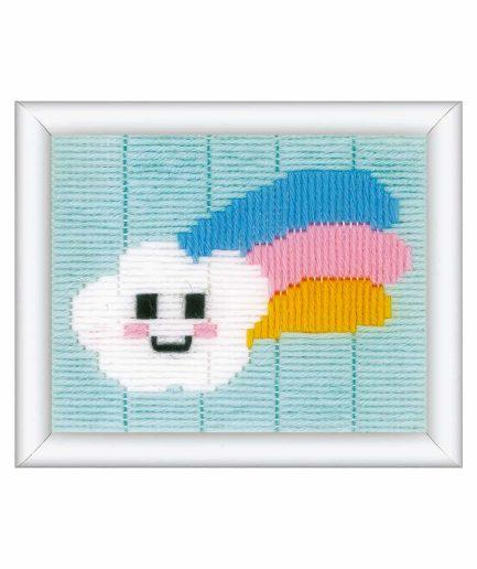 borduurpakket wolkje met regenboog voor kinderen