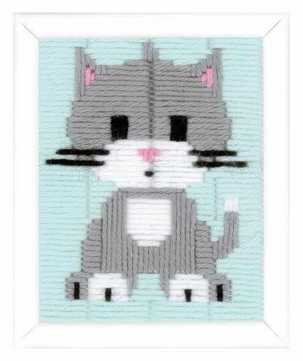 grijze poes borduurpakket voor kinderen