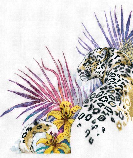 jaguar luipaard borduurpakket kruissteek