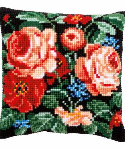 kussen borduurpakket rozen