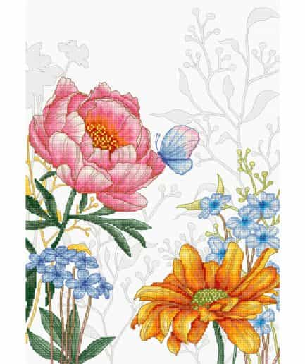 bloemen en vlinder borduurpakket kruissteek