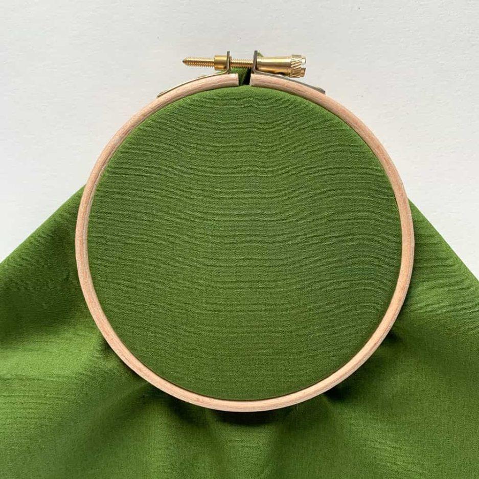 groene katoenen stof borduren