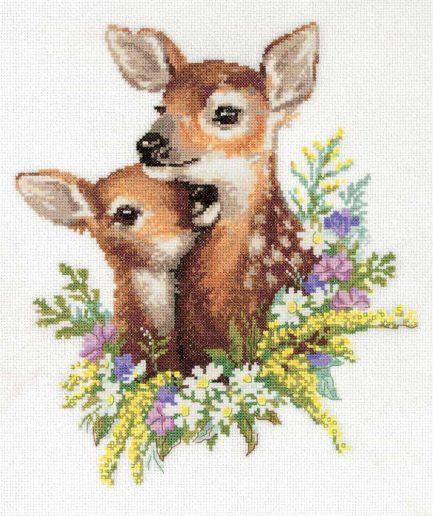 herten bloemen borduurpakket kruissteek