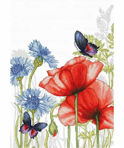 klaprozen en vlinders borduurpakket kruissteek