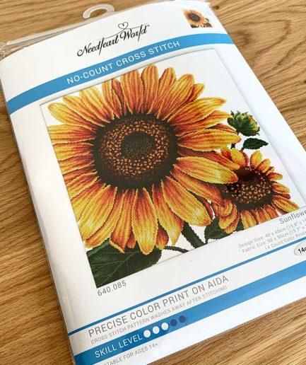 NeedleArt World voorbedrukt borduurpakket zonnebloem