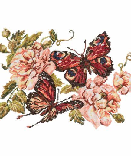 pioenrozen vlinders borduurpakket kruissteek