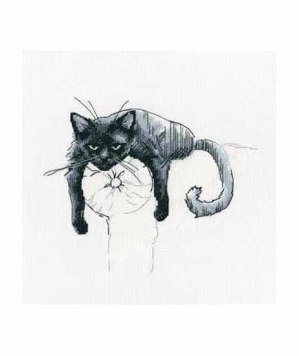 zwarte kat kruissteek borduurpakket