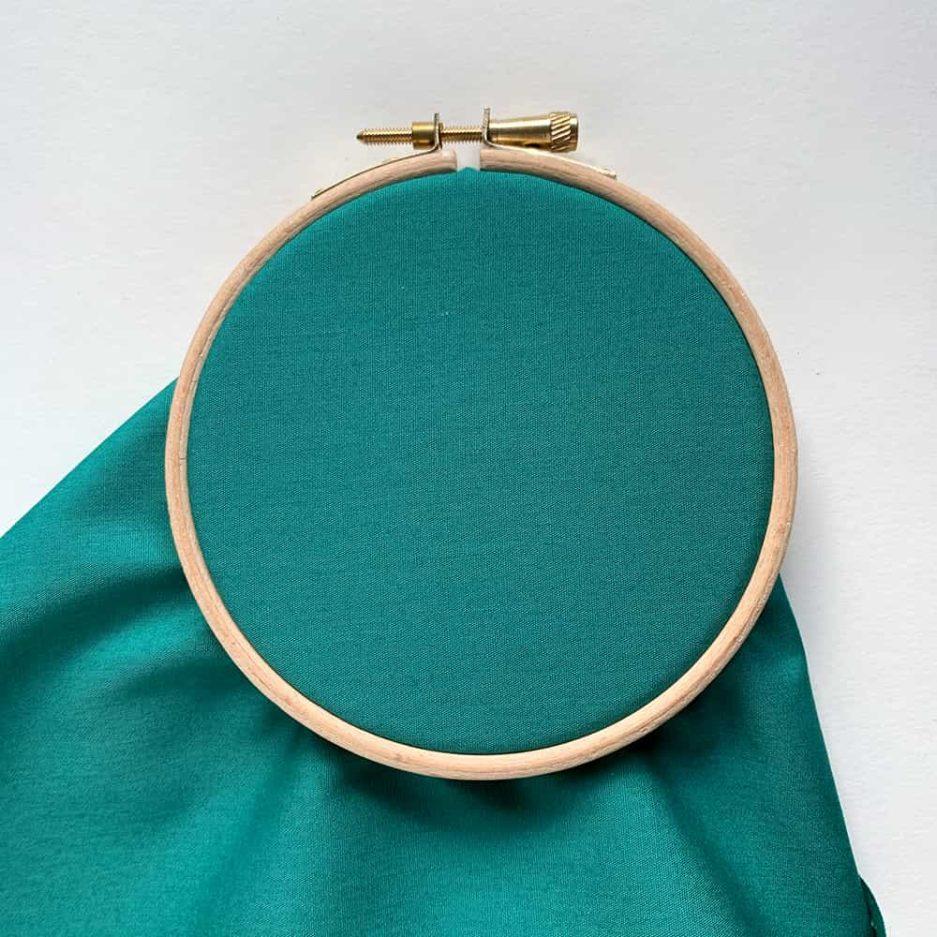 blauwgroen katoen voor borduren
