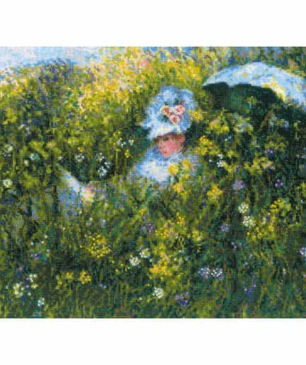 In the meadow monet schilderij borduurpakket
