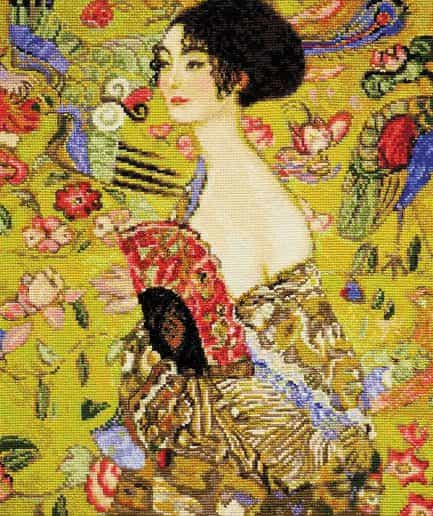Lady with a fan (G. Klimt) schilderij borduurpakket