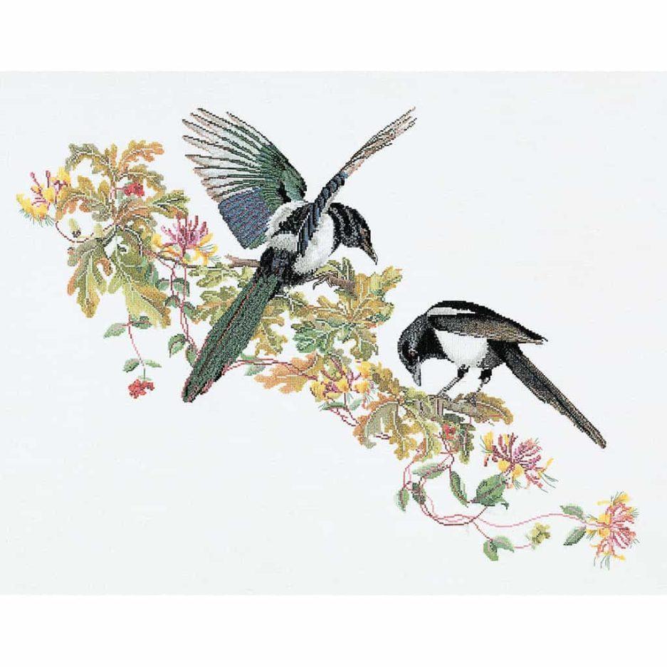 Thea Gouverneur borduurpakket eksters vogels