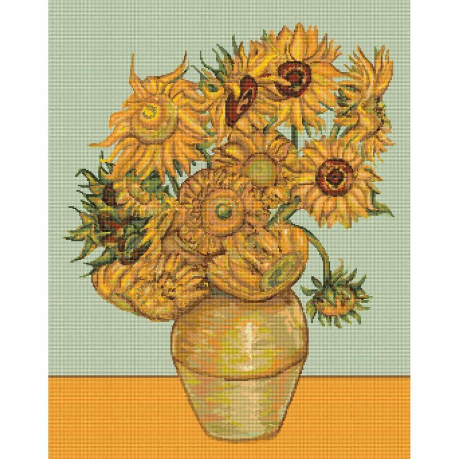 Van Gogh zonnebloemen kruissteek borduurpakket