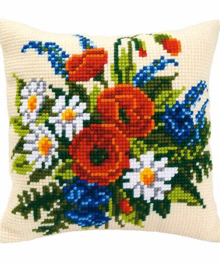 Vervaco kussen borduren veldbloemen