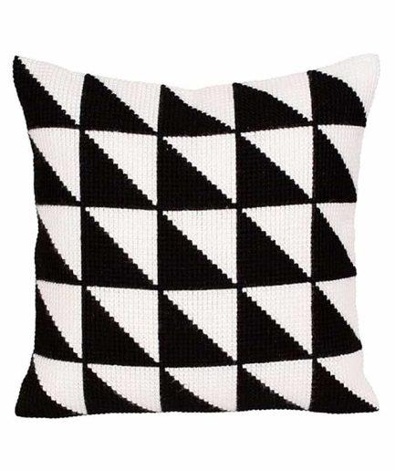 borduurpakket kussen zwart wit geometrisch