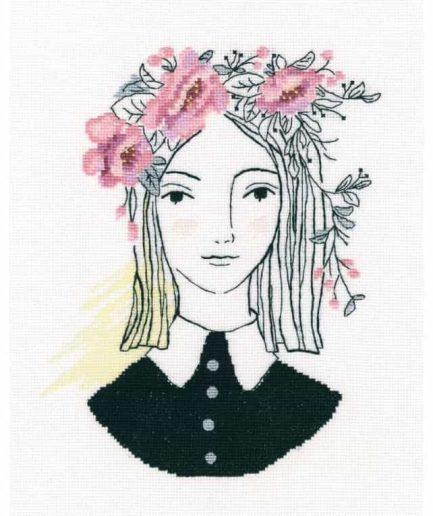 borduurpakket meisje met bloemen in haar haren