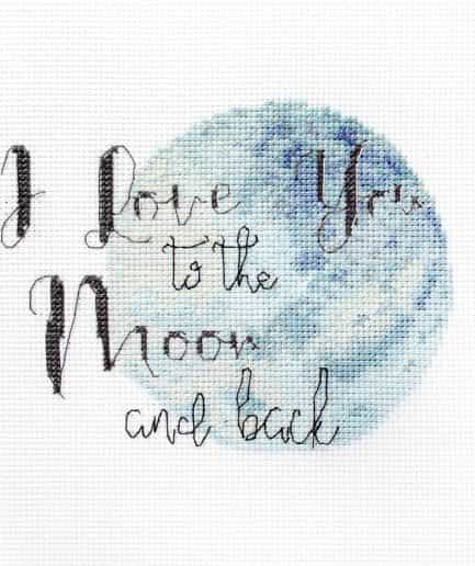 Borduurpakket quote i love you to the moon and back