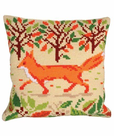 Borduurpakket kussen vos herfst