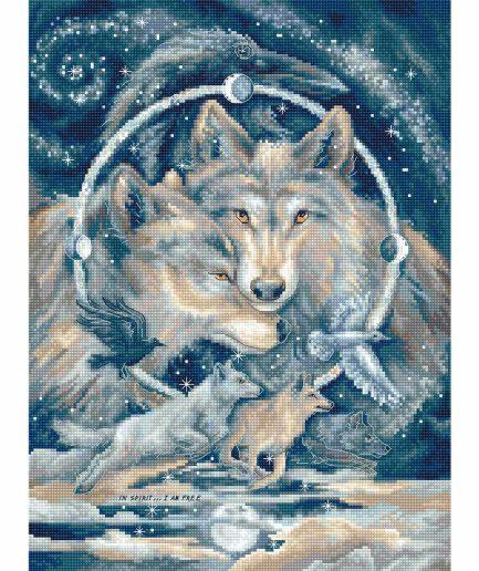 Borduurpakket met wolven