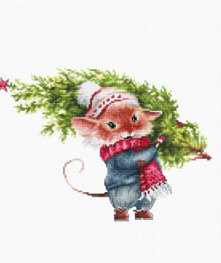 Luca-S borduurpakket muisje met kerstboom