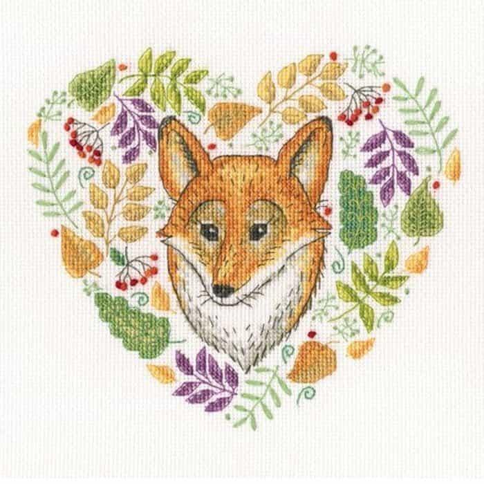 Herfst borduurpakket vos bladeren
