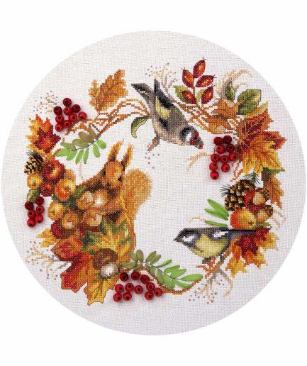 Herfstkrans kruissteek borduurpakket