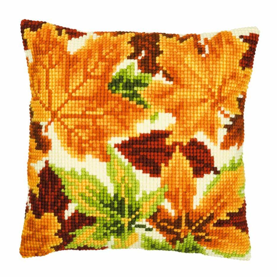 Herfstkussen borduren bladeren