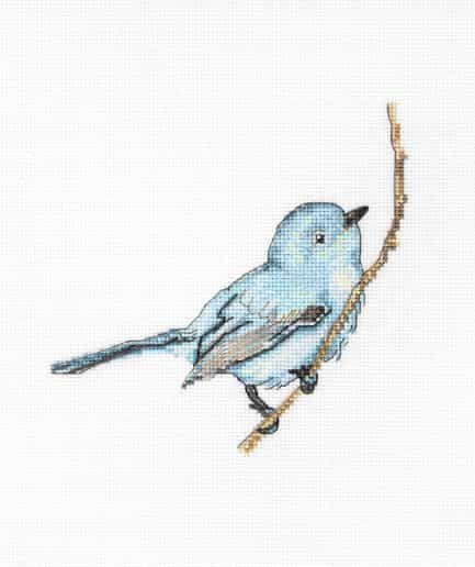 Blauwe vogel kruissteek borduurpakket