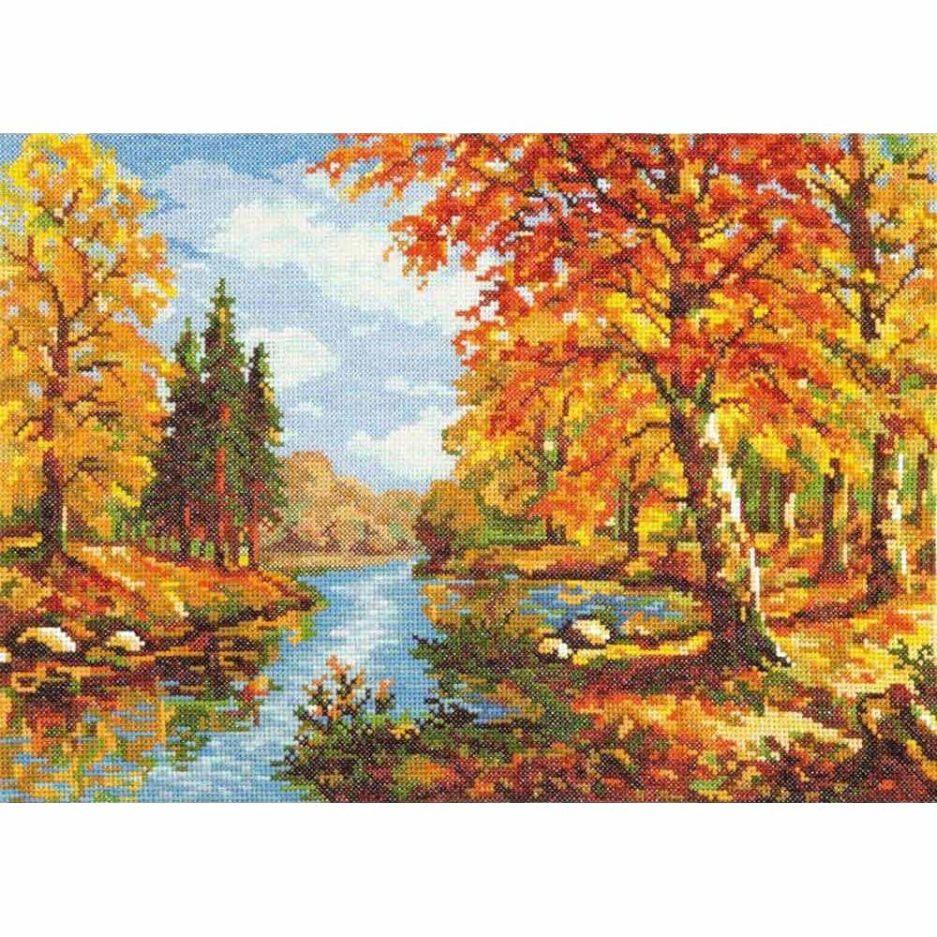 Herfst landschap borduurpakket kruissteek
