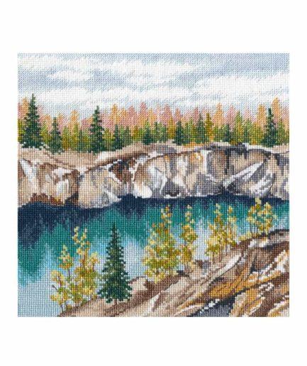 Landschap rivier borduurpakket