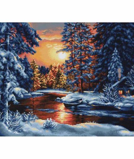 Winter landschap ondergaande zon borduurpakket