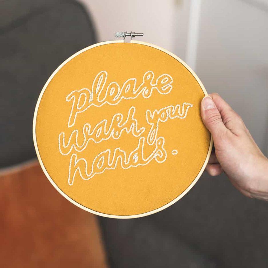 Please wash your hands borduurwerk maken