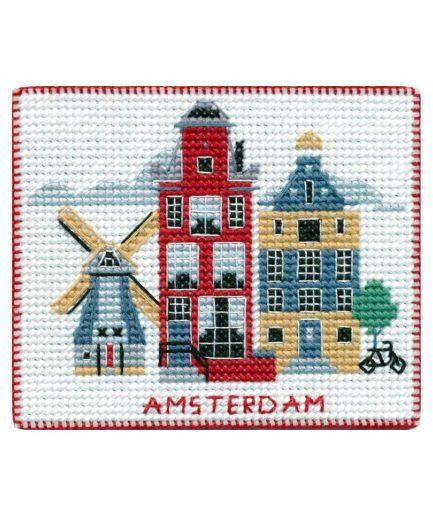 Koelkastmagneet Amsterdam borduren