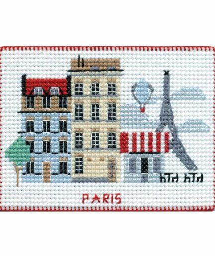 Koelkastmagneet Parijs borduren