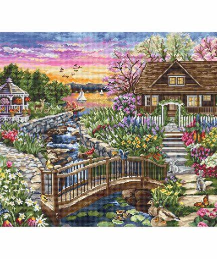 Borduurpakket huis met bloementuin