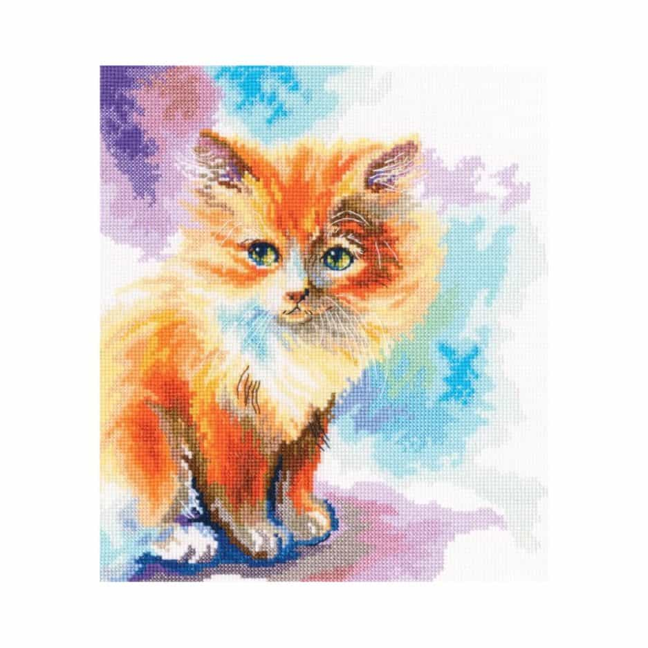 Oranje kat borduurpakket kruissteek