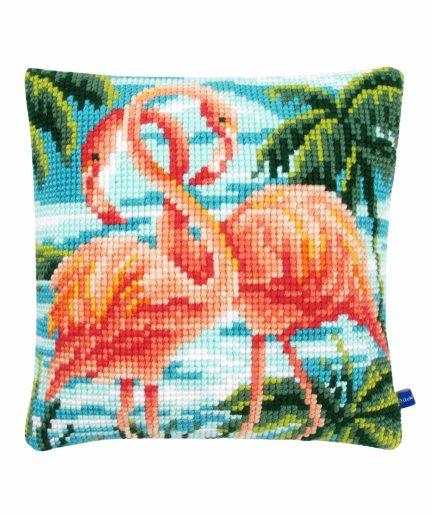 Flamingo kussen borduren
