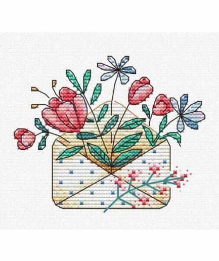 Bloemenpost borduurpakket
